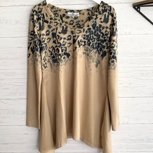 Tan and Leopard Long Sleeve Sweater